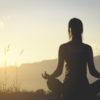 yoga silhoutte fitness girl